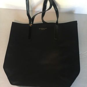 Givenchy parfums black patent leather tote bag.